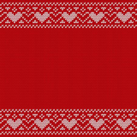 Christmas seamless pattern. Knit sweater design with space for text. Vector Xmas ornaments. Knitted jumper winter. New year red background.