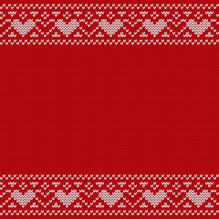Reticolo senza giunte di Natale. Maglione lavorato a maglia con spazio per il testo. Vector ornamenti di Natale. Maglione invernale lavorato a maglia. Anno nuovo sfondo rosso. Archivio Fotografico - 90023735