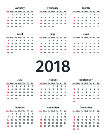 2018 calendar in simple style stock vector 90022672