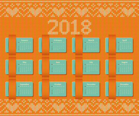 Calendar 2018 year on knitted pattern. Illustration