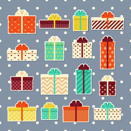Gift boxes retro stickers in flat design. Wrapped presents with bows and ribbons. Vector. Set elements isolated on seamless dotted grey pattern for vintage greeting cards and backgrounds.