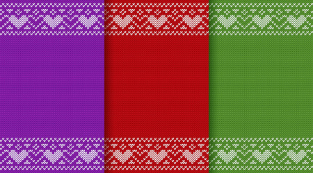 Knitted Christmas seamless pattern. Knit sweater design. Vector graphic. Xmas jumper ornaments. Knitting texture with space for text in colors. New year red, green and purple winter backgrounds with heats.  Illustration