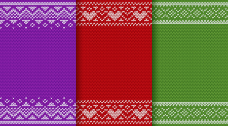 Knitted Christmas pattern. Knit sweater seamless design. Vector graphics. Xmas, new year and Valentine red, green and purple backgrounds with heats. Knitting winter texture in colors. Jumper ornaments.