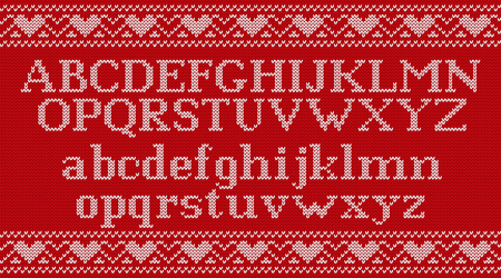 Knitted font. Christmas knit Latin alphabet on seamless pattern. Nordic Fair Isle knitting background. Sweater Xmas Valentine winter design with heats. Vector graphics.