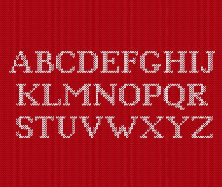 ニットフォント。クリスマスはシームレスなパターンにラテン語のアルファベットを編みました。ノルディックフェアアイル編みの背景。セーター  イラスト・ベクター素材