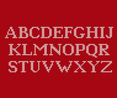 Knit font. Christmas knitted Latin alphabet on seamless pattern. Nordic Fair Isle knitting background. Sweater Xmas Valentine winter design. Vector graphics.