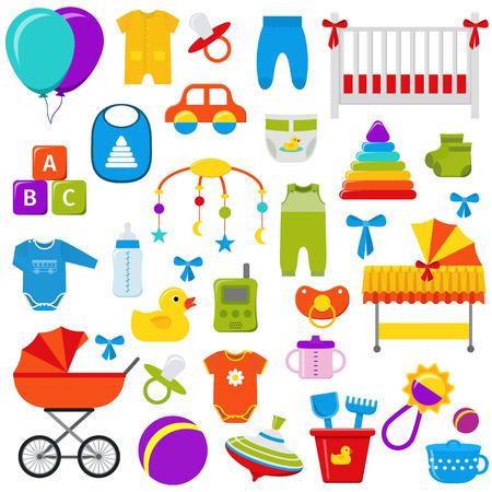 Baby Spielzeug. Vektorgrafiken. Baby-Dusche-Elemente. Stellen Sie Kinderikonen Sammlungssymbole im flachen Design ein, das auf weißem Hintergrund lokalisiert wird.