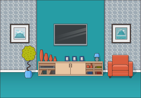 Living room interior. Linear vector illustration. Line art room in flat design. House equipment. Home space with armchair and TV. Cartoon furniture.