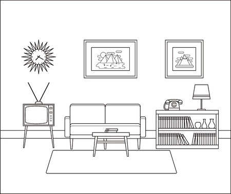 Linear room interior. Retro living room in line art. Vector illustration. Outline sketch. Vettoriali