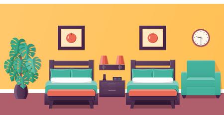 Quarto de hotel apartamento interior com duas camas. Projeto da casa do quarto. Ilustração do vetor com mobília e houseplant. Fundo de casa.