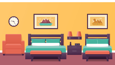 Hotel room in flat design. Bedroom interior with two beds. Vector illustration. Triple room. Home background with furniture and armchair.