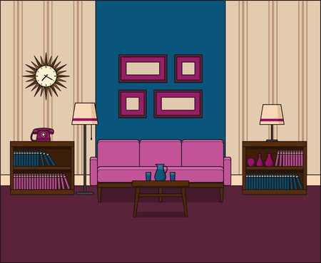The Line Art And Living : Living room in line art interior linear vector illustration