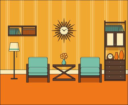 Room In Flat Design Retro Living Interior 60s Line Art Vector Graphics