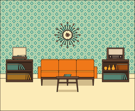 Living room in flat design. Retro room interior 60s in line art. Vector graphics. Linear illustration. Thin line home space with sofa, vinyl turntable and radio. House equipment 70s. Vintage background.  Illustration