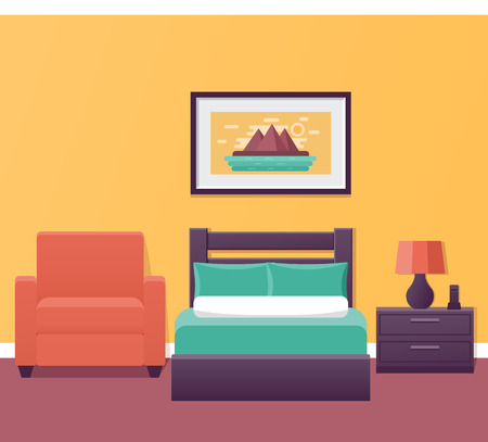 Hotel room interior in flat style. Bedroom house design with bed and armchair. Vector illustration. Single room in inn. Home background with furniture. Vectores