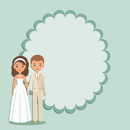 Cartoon groom, bride with space for text Vector.