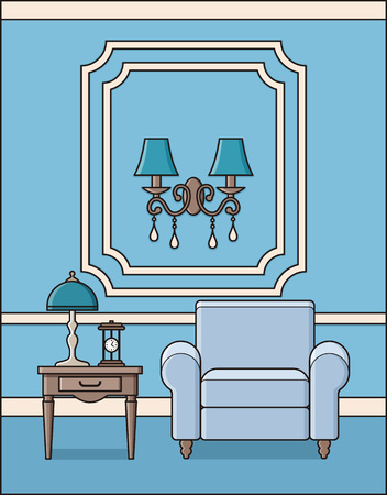 Room with armchair Vector of Living room interior in classic style.