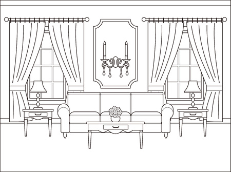 Room interior. Vector. Linear living room with window. Coloring page. Black white sketch in classic style. Home space in flat design. Outline contour background. Cartoon illustration in line art.