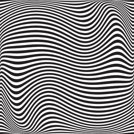 Wavy geometric pattern. Abstract black white background. Vector illustration. Futuristic monochrome design. Optical illusion.