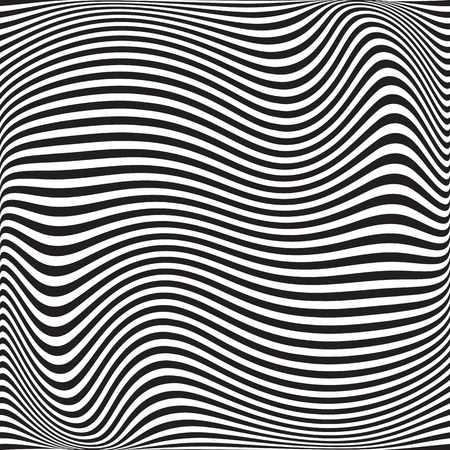 Wavy geometric pattern. Abstract black white background. Vector illustration. Futuristic monochrome design. Optical illusion.