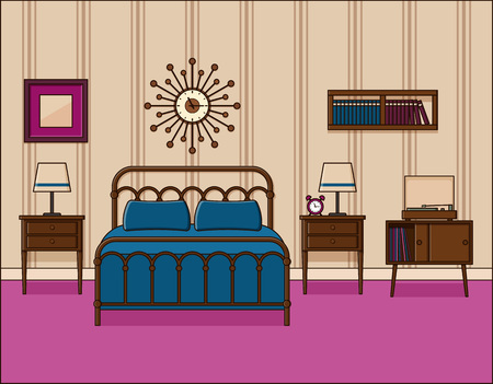 Bedroom interior. Hotel room. Vector in flat design. Retro home space with bed in line art. Outline illustration. Cartoon house equipment. Vintage apartment 70s. Linear background 1960s. Vettoriali
