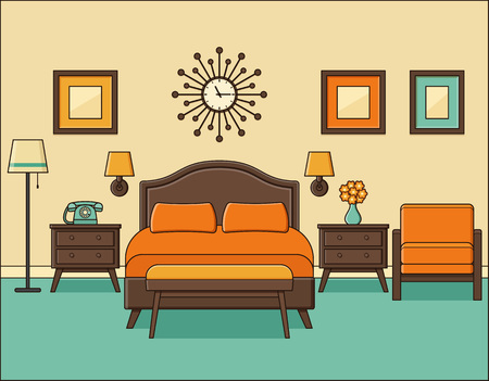Bedroom retro interior. Hotel room in flat design with bed. Vector. Home space in line art. Linear illustration. Cartoon house equipment. Vintage apartment 70s. Outline background 1960s. Vettoriali