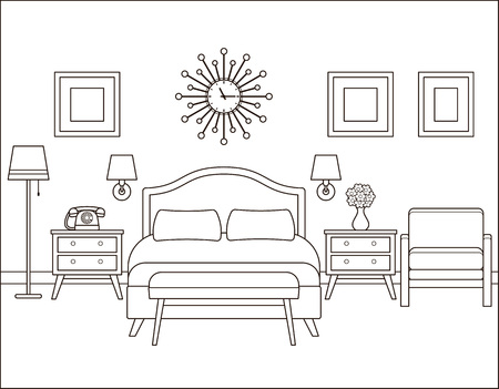 Room interior. Hotel bedroom with bed. Vector. Linear illustration. Retro house in flat design. Vintage apartment. Black white sketch. Coloring page. Outline contour background. Home space in line art Vettoriali