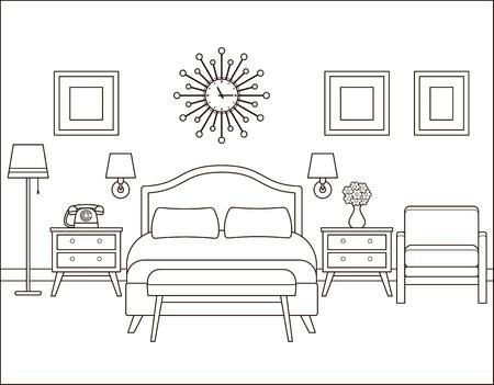 Room interior. Hotel bedroom with bed. Vector. Linear illustration. Retro house in flat design. Vintage apartment. Black white sketch. Coloring page. Outline contour background. Home space in line art Ilustração