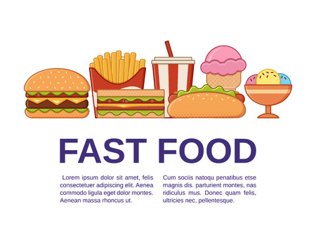 Fast food icons with text. Vector. Set unhealthy meal in flat line art style with space for typography. Junk colorful cooking elements. Linear restaurant snacks. Outline design.
