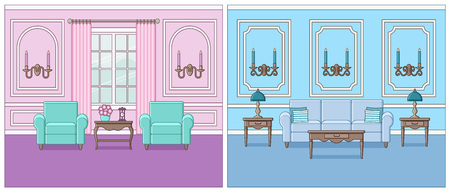 Living room interior. Vector. Set rooms in line art flat design. Linear background. Home space with furniture. Outline illustration. Cartoon house in pastel colors. Parlor in classic style.