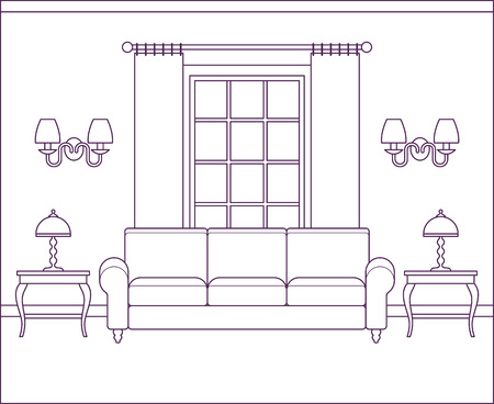 Room interior. Vector living room. Home flat design with furniture, window. Outline sketch house scene in line art style. Linear contour background. Cartoon illustration. Coloring page.
