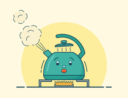 Boiling kettle. Character in flat design. Vector. Kettle boils on gas flame in line art style. Colorful animated cartoon illustration. Vettoriali