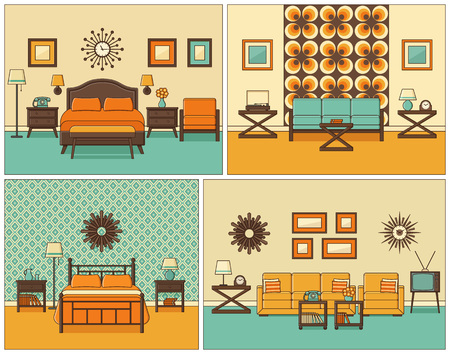 Room interiors. Vector. Linear living room and bedroom with furniture. Retro house scene. Flat line art style home illustration. Set outline sketch. Vintage design. Hotel background with bed and sofa. 矢量图像