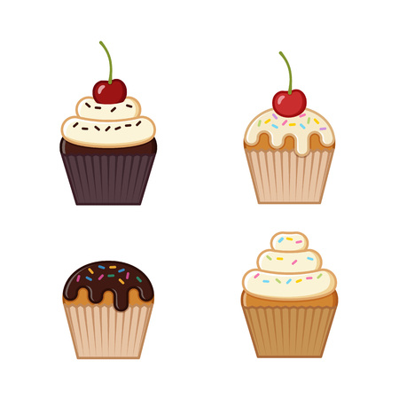 Cupcake, muffin icons. Vector illustration. Set outline desserts isolated on white background. Junk and sweet snacks in flat line art style. Unhealthy meal.