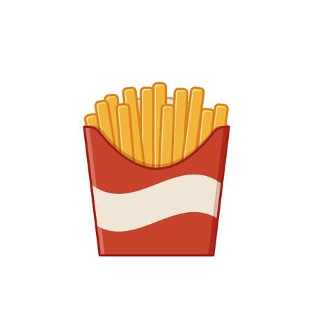 Icona di patatine fritte. Vettore. Fast food, elemento di cottura colorato spazzatura. Delineare un pasto malsano in stile arte linea piatta isolato su priorità bassa bianca. Snack al ristorante o al bar. Vettoriali