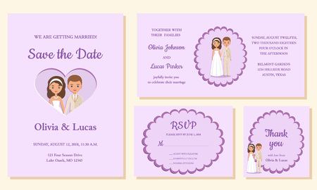 Wedding invite, save the date, rsvp, thank you cards. Invitation templates. Vector. Card with bride and groom. Holiday marriage background. Celebration poster.