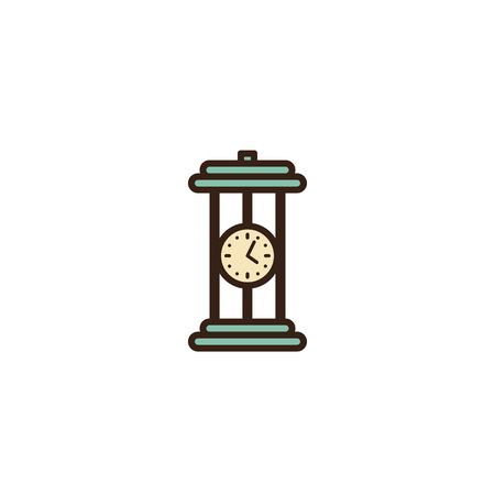 Table clock icon. Hourglass design, isolated on white background. Vector. Linear retro illustration in line art flat style. House vintage old equipment 1960s - 1970s. Illustration