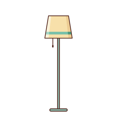 Floor lamp icon isolated. Vector. Electric staff on white background. Vintage old house equipment 1960s - 1970s. Linear retro illustration in line art flat design. Illustration