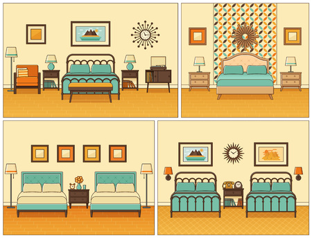 Hotel room interior. Bedrooms with beds. Vector. Linear flat design illustration. Retro house furniture. Home space in line art. Outline apartment in yellow, mint. Set vintage backgrounds 1950s 1960s.