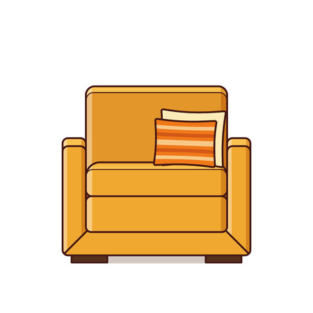 Armchair icon. Vector. Linear retro illustration in line art flat design. Yellow furniture. Vintage house equipment for living room isolated on white background. Illusztráció