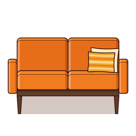 Couch icon. Vector. Sofa in flat design. Orange furniture with cushion. Linear retro illustration in line art style. Vintage house equipment for living room isolated on white background.