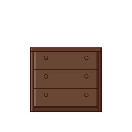 Chest of drawers. Vector. Retro furniture icon in flat design. Outline illustration in line art style. Vintage house equipment for bedroom isolated on white background.