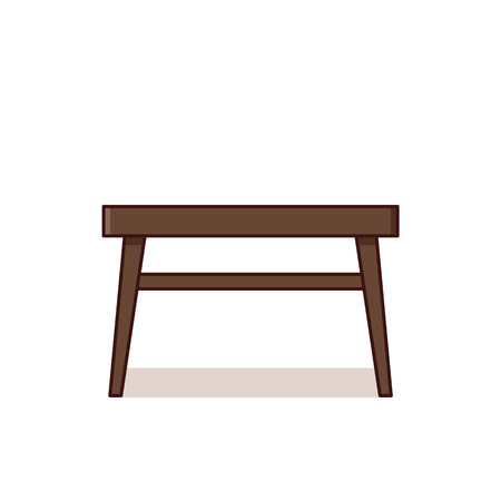 Table icon. Vector. Coffee table in flat design. Outline furniture. Linear retro illustration in line art style. Vintage house equipment for living room isolated on white background. Çizim