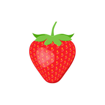 Strawberry icon in flat design. Vector illustration. Sweet berry isolated on white background.