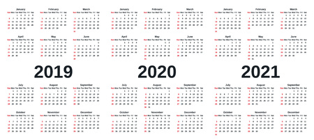 Calendario 2019, 2020, 2021. Grafica vettoriale. La settimana inizia domenica. Modello di cancelleria di design con mesi dell'anno in stile semplice. Organizzatore del calendario annuale per settimane su sfondo bianco. Vettoriali