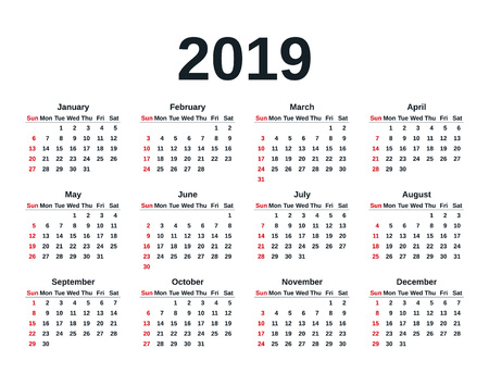 calendar 2019 in simple style week starts sunday stationery 2019 year template in minimal