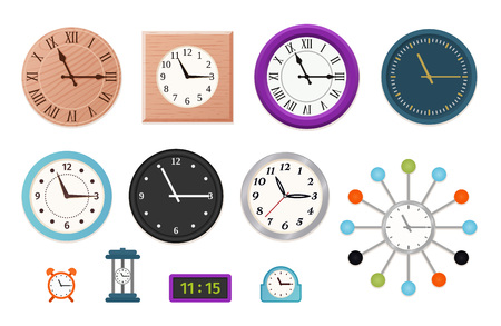 Wall clock. Vector. Set wall, table and alarm clocks isolated on white background. Colorful cartoon illustration in flat design. Çizim