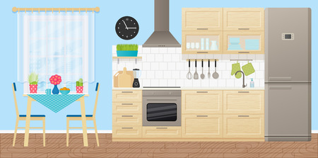 Kitchen interior. Vector. Room with appliances, furniture - dining table, stove, cupboard, blender, fridge and window in flat design. Cooking banner. Cartoon illustration.