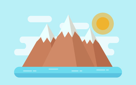 Sea landscape with snow mountains, island. Vector. Illustration in flat design. Nature seascape horizontal background.