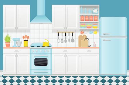Interior retro de cocina con electrodomésticos, muebles. Vector. Habitación vintage con estufa, armario, batidora, nevera y hervidor de agua en diseño plano. Banner de cocina. Ilustración de dibujos animados.